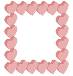 Frame isometric hearts pink vector