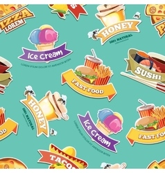 Seamless pattern with emblems of food vector