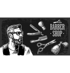 Hipster shave haircut in the barbershop vector