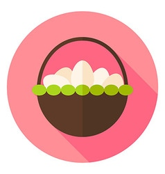 Basket with many Eggs Circle Icon vector image vector image