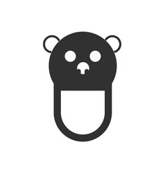 Black icon on white background teddy bear bib vector