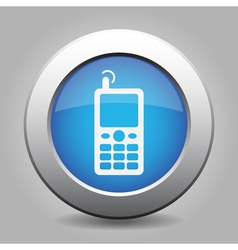 Blue metallic button old mobile with antenna icon vector