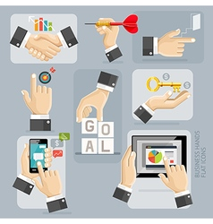 Business Hands Flat Icons Set vector image vector image