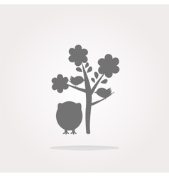 Button with owl and tree isolated on white vector