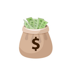 canvas money bag full of dollar banknotes vector image