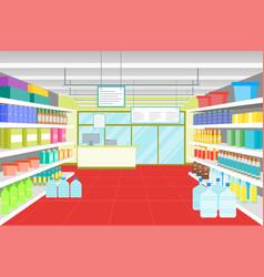 cartoon interior shop or supermarket with vector image vector image