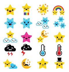 Cute weather kawaii icons -star rainbow moon vector