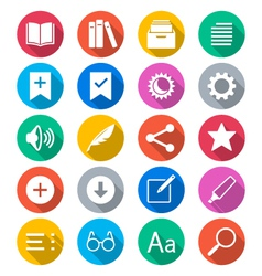 E-book reader flat color icons vector image