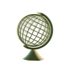Earth globe sign colorful icon shaked vector