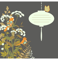 Floral card with paper lantern vector image