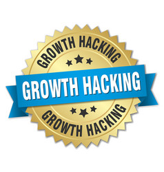 growth hacking round isolated gold badge vector image vector image