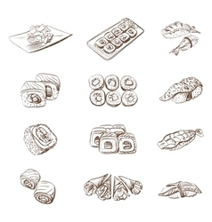 Hand drawn set with sushi rolls sashimi vector image