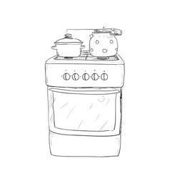 hand drawn sketch of kitchen stove vector image