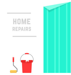 Home repairs with hanging wallpaper vector