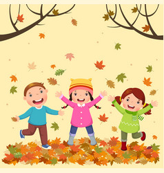 Kids playing outdoors in autumn vector