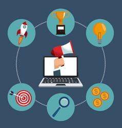 laptop digital marketing icons vector image
