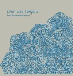 linen brocade card template vector image vector image