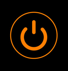 On off switch sign orange icon on black vector