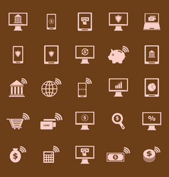 online banking color icons on brown background vector image vector image