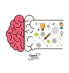 Open mind brain intelligence genius idea vector