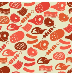 Seamless pattern with meat products vector image