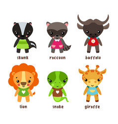 Skunk and giraffe raccoon and snake lion bison vector