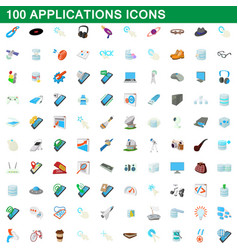 100 applications icons set cartoon style vector image vector image