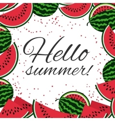 Hello summer with watermelons background vector