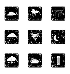 Type of weather icons set grunge style vector