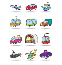 Transportations icon set vector image