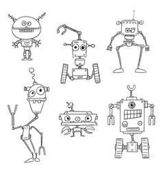 set of hand drawn cartoon robots vector image