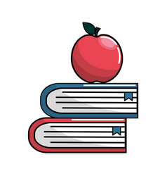 school books with apple fruit icon vector image