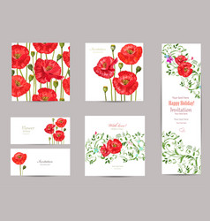 Collection of greeting cards with blossom poppies vector