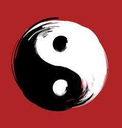 hand drawn with brush swirl spiral yin yang symbol vector image