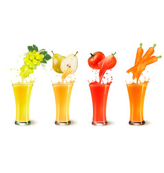 Set of fruit juice splash in a glass grapes vector