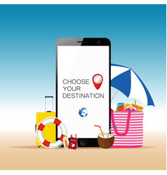 Mobile phone with beach stuff and choose your vector
