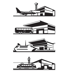 Transport stations with vehicles vector