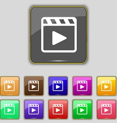 Play video icon sign set with eleven colored vector