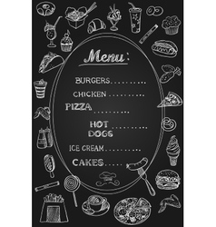 Food menu on chalkboard vector