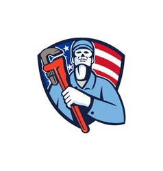 Plumber holding wrench usa flag shield retro vector