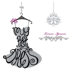 Woman dress silhouettewords best dresschandelier vector
