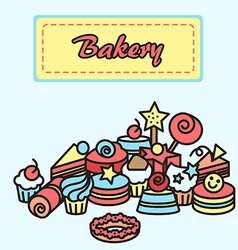Bakery cake icons sticker candy sweet banner vector