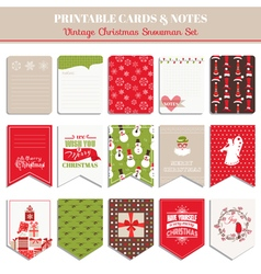 Christmas retro set - tags cards banners labels vector