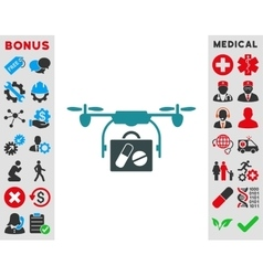 Medical drone shipment icon vector