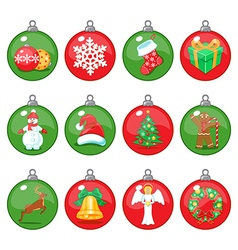 Christmas balls icons set vector