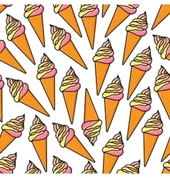 Soft serve ice cream cones retro seamless pattern vector image