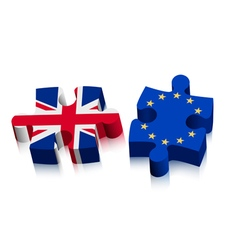 Two puzzle pieces - uk and eu brexit concept vector