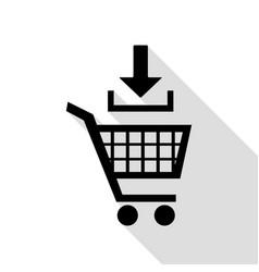 add to shopping cart sign black icon with flat vector image vector image