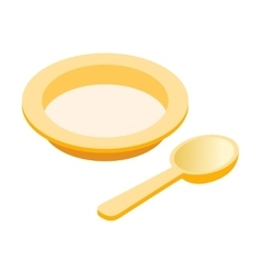 Baby plate spoon isometric 3d icon vector image