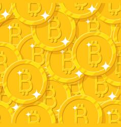 Bitcoin shining seamless pattern vector
